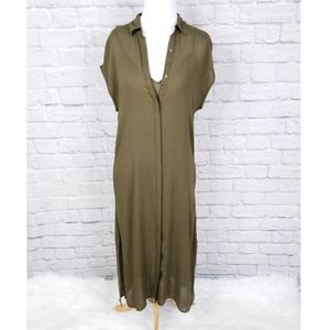 Lucky Brand Emily Olive Green Midi Shirt Dress
